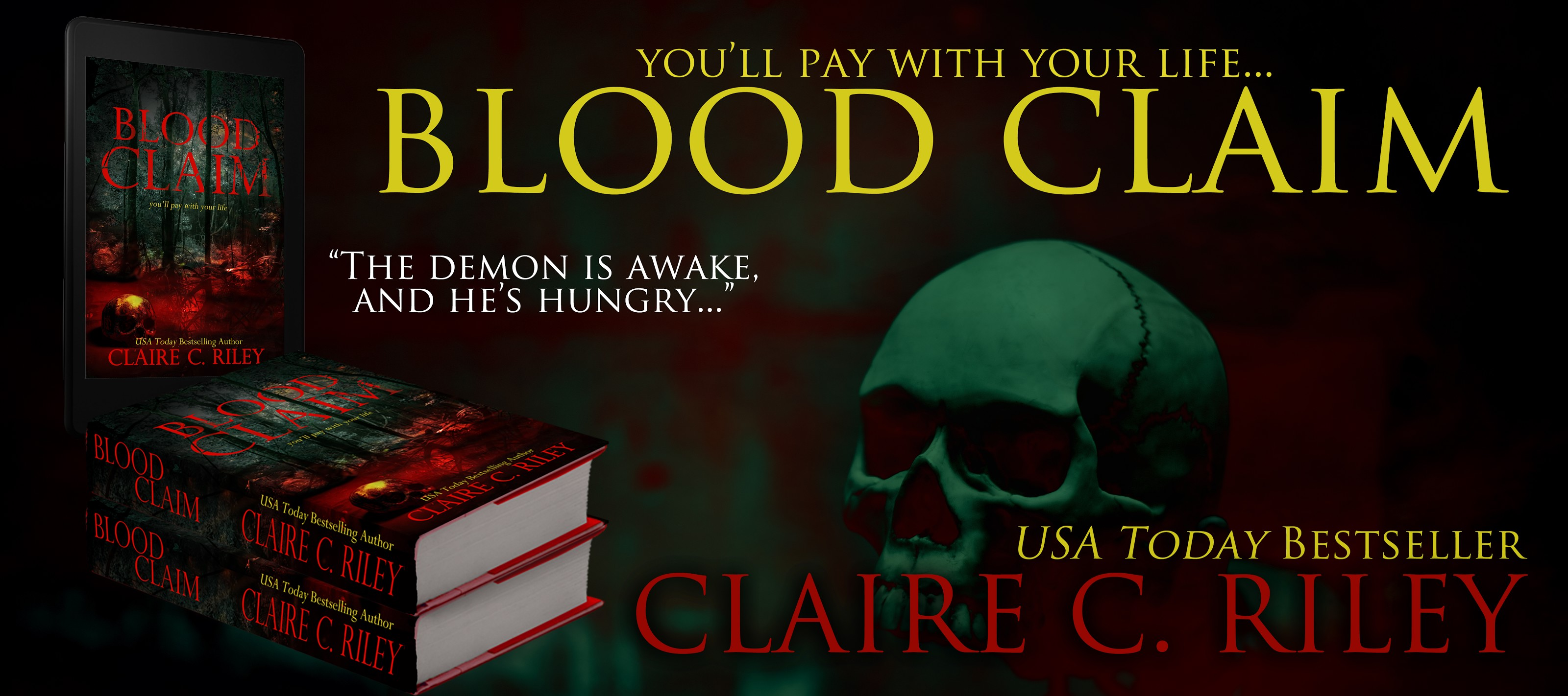 Blood Claim Banner Alternative with Paperbacks